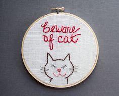Beware of Cat Wall Art Embroidery Hoop Art 6 Inch by IslaysTerrace, $30.00