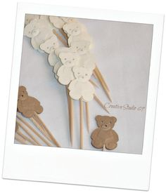 24 Decorative Mixed Gold Brown and Creme  Teddy Bear toothpicks party picks food picks cupcake toppers