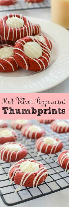 Red Velvet Peppermint Thumbprints - delicious cookies filled with white chocolate! These are sure to become your favorite Christmas cookie!