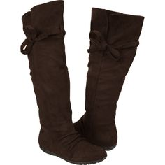 REPORT tie top faux suede flat boots, brown - $16.97