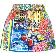 Dolce & Gabbana Portofino printed brocade shorts ($1,395) ❤ liked on Polyvore featuring shorts, skirts, bottoms, blue, high waisted print shorts, dolce&gabbana, highwaisted shorts, short shorts and high waisted short shorts