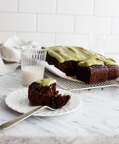 Chocolate Zucchini Cake with Matcha Frosting (Vegan)