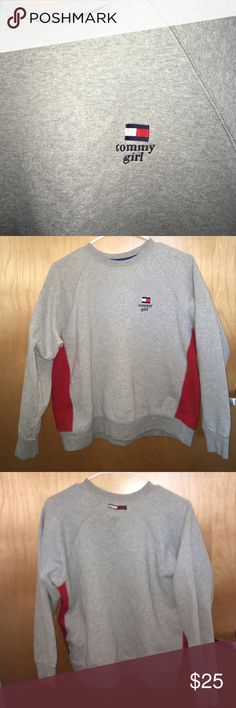 Tommy Hilfiger crew neck! 🎉 Trendy tommy girl crew neck! Very comfortable and in style! Some wear to the inside of the sweatshirt but still looks great on. No issues Tommy Hilfiger Tops Sweatshirts & Hoodies