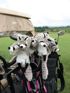 I made these cute covers for my fairway wood golf clubs. They turned out so adorable I am now selling them. Other golf club cover critters available too....