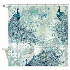 Peacock Pattern Shower Curtain On CafePress