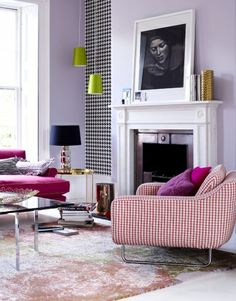 colourful living space #fireplace