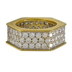 Diamond Gold Hexagon Band Ring