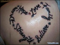 com img src http www tattoostime com images 385 lettering heart tattoo Believe, Word Tattoos, Heart Tattoos, Back Tattoo, Love, Picture Quotes, Tatting, Body Art, Tattoo Quotes