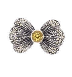 Citrine Marcasite Brooch - Chicago Marcasite Jewellery Marcasite Jewelry, Silver Jewelry, Vintage Wedding Theme, Bow Design, Semi Precious Gemstones, Sale Items, Sterling Silver, Brooches, Chicago