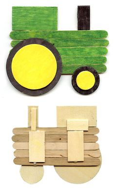 a Tractor from Popsicle Sticks wood shapes and Sharpies. Daycare Crafts, Toddler Crafts, Preschool Crafts, Craft Activities, Craft Stick Crafts, Fun Crafts, Crafts For Kids, Craft Sticks, Resin Crafts