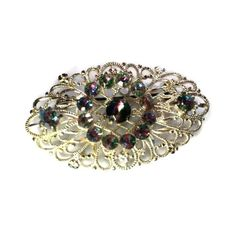 Silver Tone Filigree Brooch With Striated Cabochons Circa 1960s