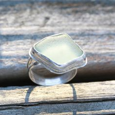 White Beach Glass ring by SimplyLeilani on Etsy,
