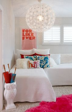 My girls are 9 and 5 years old now and they have shared a room for about 2 years now. I have had dreams of making a really cute girly room but it keeps getting put on the back burner. You know, becaus Shared Bedrooms, Teen Girl Bedrooms, Bedroom Boys, Girl Rooms, L Shaped Twin Beds, Two Twin Beds, Corner Twin Beds, Old Room, Bedroom Layouts