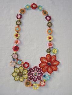 Handmade by GalyaKireva - - Crochet Necklace…Knitted Jewelry…Handmade by GalyaKireva craft Häkelkette … Strickschmuck … Handgefertigt von GalyaKireva Textile Jewelry, Fabric Jewelry, Jewellery, Crochet Zebra, Beaded Crochet, Handmade Necklaces, Handmade Jewelry, Crochet Necklace Pattern, Crochet With Cotton Yarn