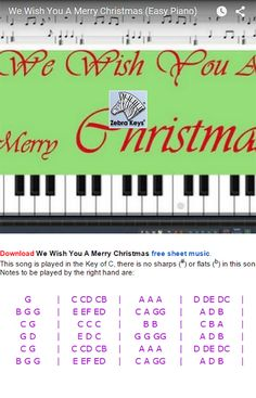 Piano Music With Letters, Ikea Picture Frame, Easy Piano Songs, Christmas Sheet Music, Free Sheet Music, Home Schooling, Keys, Wish, Merry Christmas