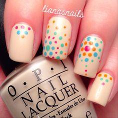 Beige, polka dots. OPI.  Nail Art. Nail Design. Polishes. Polish, Romantic. Instagram  by lianasnails