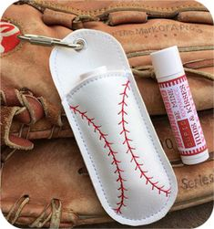 In The Hoop :: Baseball Key Ring Chapstick Holder - Embroidery Garden In the Hoop Machine Embroidery Designs