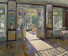 Sergei Arsen'evich Vinogradov (Russian 1869–1938) [Peredvizhniki, Plein-air, Russian Impressionism] In a House, 1913. The Bridgeman Art Library.