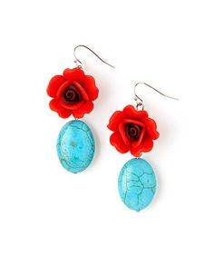 Red & Blue Stone Blossom Drop Earrings-New! The sleek surfaces of river-tossed stones contrasts with the scalloped edges of vibrant blossoms for eye-catching appeal. Look in my closet for matching top! W x L Stone / resin ZAD Jewelry Earrings Hens And Chicks, Beads And Wire, Jewelry Crafts, Jewelry Ideas, Jewelry Box, Turquoise Jewelry, Green Turquoise, Red Roses, Red And Blue