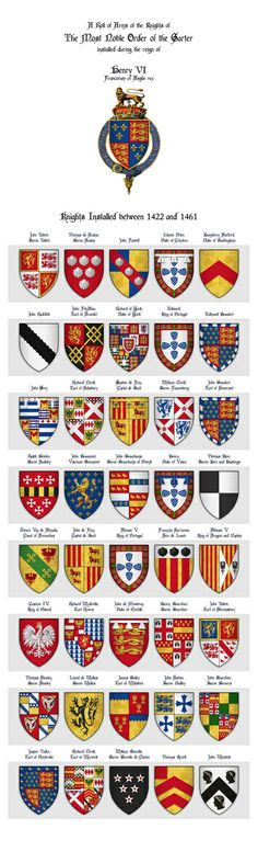 Roll of Arms - Knights of the Garter Installed during the Reign of King Henry VI Art Print