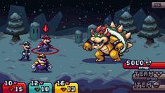 """Did a mock-up showcasing how I'd approach a new Mario RPG. Mario, Luigi, and Wario tri-attacks. #pixelart #Nintendo"""