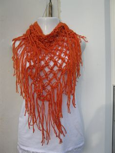 Tangerine Fashionable triangle scarf/shawl by Elegantcrochets, $19.90