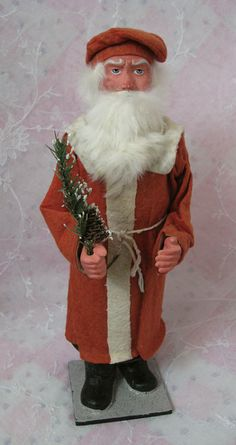 Wonderful Antique German Candy Container Father Christmas Santa  in Scarlet Red Coat
