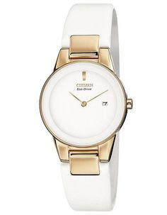 Citizen Eco-Drive Axiom Ladies Strap Watch - White Dial - Rose Gold-Tone Case