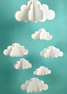 Your place to buy and sell all things handmade Cloud Mobile, Hanging Baby Mobile, Paper Mobile, N Craft Projects, Diy And Crafts, Crafts For Kids, Arts And Crafts, Baby Diy Projects, Handmade Crafts, Paper Clouds, 3d Clouds, Balloon Clouds