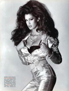 """Jeans Décor"", Vogue Italia, July 1992  Photographer: Albert Watson  Model: Yasmeen Ghauri  Stylist: Alice Gentilucci  Makeup: Jacques Clemente  Hair: Kerry Warn"