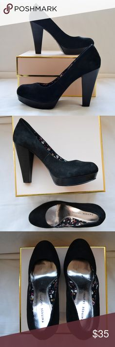 Chinese Laundry Black Suede Platform Pumps Black Suede Pumps. Worn once. Floral lining. Chinese Laundry Shoes Heels