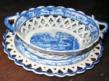 Staffordshire Transferware Bewick Stag Basket and Undertray.