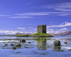 Blue Stalker, Appin, Argyll, Scotland, weddings, Spring, morning, ramparts, castle, tide, clouds, gorgeous, hills photo