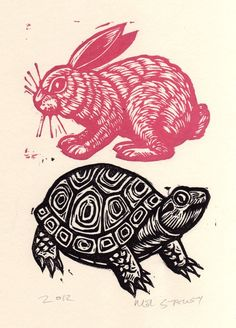 Tortoise and Hare Linocut. Love the two colors: Engraving, Linoleum Print Art And Illustration, Illustrations, Linocut Prints, Art Prints, Linoleum Block Printing, Linoprint, Tampons, Art Plastique, Art Lessons