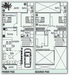 Plano de dos pisos con terraza