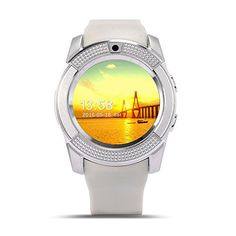 SinoPro V8 Smart Watch, Sports Fitness Tracker Bluetooth Wrist Watch with SIM Card and TF Card Slot Camera Message Notification Sleep Monitor for iPhone Samsung and other Android Smartphone (White) 21.99  #【Appearancevogue】1.22inchFullRoundFaceIPSDisplay240*240resolutionwithOGSqualityprocess.Brightnessfeelbetterindoor&outdoorthancommonprocess. #AndroidPackage #APK #APP...