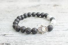 Black lava stone and white howlite beaded silver Hamsa hand stretchy bracelet, mens bracelet, womens #bracelet