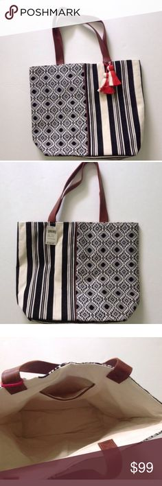 "LUCKY BRAND Tote Shopper Beach Patchwork Bag Canva This is a LARGE tote! Brand new! 19"" L x 16"" H x 5"" D Leather Handles. $128 Value Lucky Brand Bags Totes"