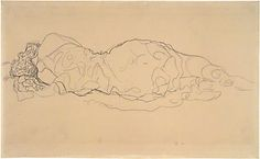 """""""The theme of floating women held enormous symbolic and artistic significance for Klimt from the Secession period onward."""" Reclining Woman, Seen from Behind, Gustav Klimt. Gesture Drawing, Life Drawing, Figure Drawing, Painting & Drawing, Gustav Klimt, Sculpture, Art Drawings, Pencil Drawings, Sketches"""