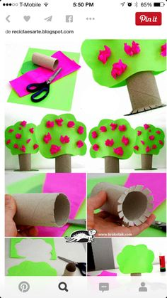 Toilet paper roll crafts - treecraft idea for kids crafts and worksheets fo Kids Crafts, Tree Crafts, Toddler Crafts, Preschool Crafts, Projects For Kids, Diy For Kids, Easy Crafts, Toilet Roll Craft, Toilet Paper Roll Crafts