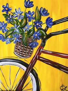 Spring Cruisin' bicycle with flowers Spring Drawing, Spring Art, Bicycle Painting, Bicycle Art, Bicycle Basket, Wine And Canvas, Summer Painting, Learn To Paint, Whimsical Art