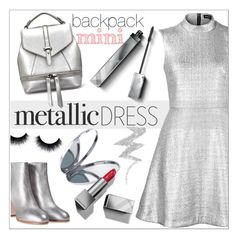 """metallic"" by hajni0103 ❤ liked on Polyvore featuring Markus Lupfer, Miu Miu, Miss Selfridge, Burberry, NYX, Minime and metallicdress"