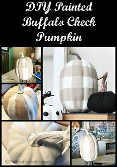 DIY Painted Buffalo Check Pumpkin - The Red Painted Cottage Retro Home Decor, Fall Home Decor, Autumn Home, Cheap Home Decor, Diy Home Decor, Diy Pumpkin, Pumpkin Ideas, Pumpkin Spice, Pumpkin Pictures