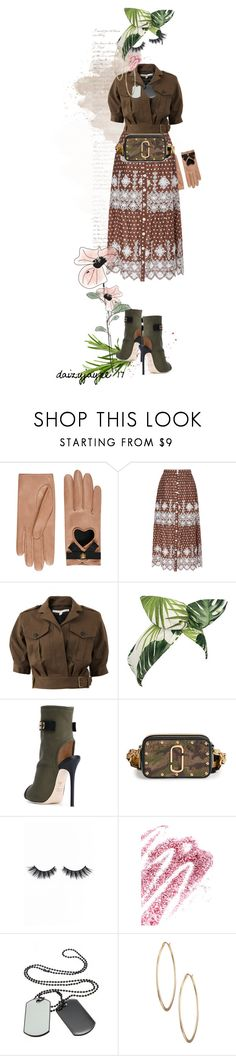 """""""embroidered military style"""" by daizyjayne ❤ liked on Polyvore featuring Gucci, Miguelina, Veronica Beard, Lulu in the Sky, Giuseppe Zanotti, Marc Jacobs, Violet Voss, Obsessive Compulsive Cosmetics, Lydell NYC and contestentry"""