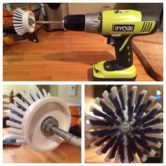 """BEST cleaning hack/ DIY EVER: Soap dispensing palm brush refills by OXO (Target), 5"""" hex tap bolt, a locking and a regular washer, and a hex nut. Put together and place in your drill! The guys might love this. #Ryobi"""