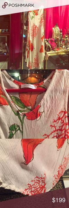 MaxMara Authentic, midi dress. Casual dress, white , stamps red print. MaxMara Dresses Midi