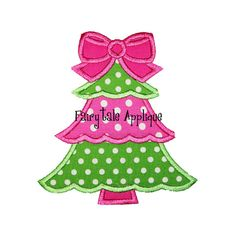 Digital Machine Embroidery Design - Girly Christmas Tree Applique via Etsy