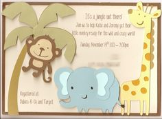 animal baby shower | ... dimension of the animals coming off of the card, but you get the idea