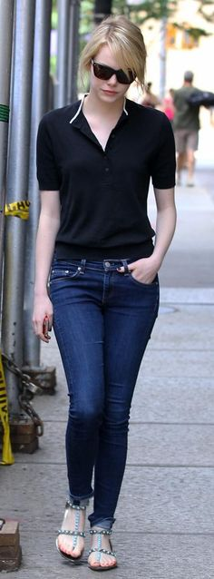 emma Stone casual look