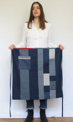 Made with 20 small fabric remnants. Inspired by Japanese 'Boro' and French & American vintage rustic aprons – reducing waste and creating something useful and unique, that will last for many years to come. Rustic Aprons, Denim Patchwork, Ticking Stripe, Fabric Remnants, Boro, French Vintage, Blue Denim, Japanese, Inspired